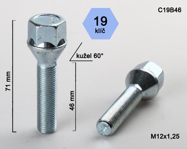 Kolový šroub M12x1,25x46 kužel, klíč 19 (C19B46) výška 71mm