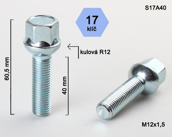 Kolový šroub M12x1,5x40 kulová R12, klíč 17 (S17A40R12) výška 60,5mm