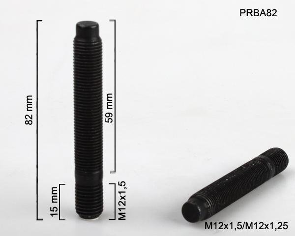 Kolový svorník M12x1,5x15/M12x1,25x59 oboustranný závit (PRBA82) černý, celková délka 82mm