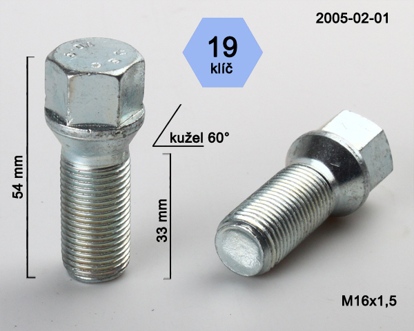 Kolový šroub M16x1,5x33 kužel, klíč 19 (2005-02-01) výška 54mm