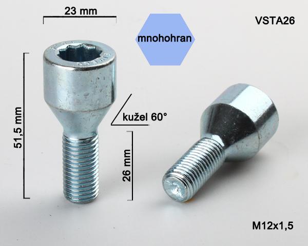 Kolový šroub M12x1,5x26 kužel s vnitřním mnohohranem  (VSTA26) prům.hlavy 23mm, výška 51,5