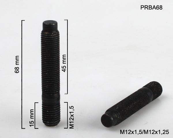 Kolový svorník M12x1,5x15/M12x1,25x45 oboustranný závit (PRBA68) černý, celková délka 68mm