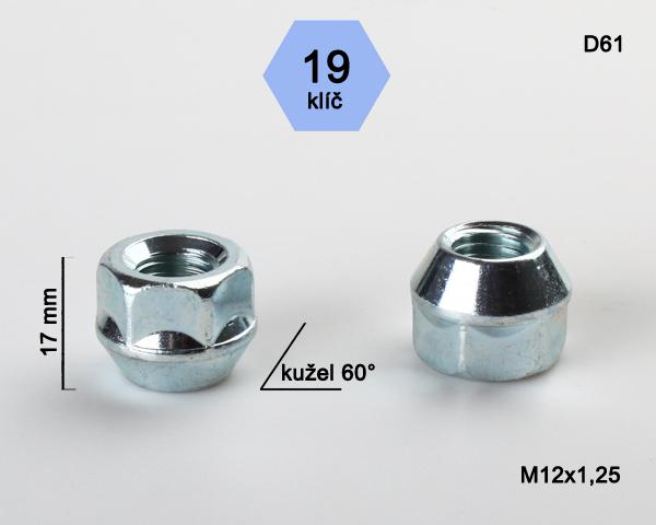 Kolová matice M12x1,25 kužel otevřená, klíč 19 (D61) výška 17mm