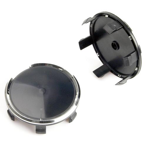 Krytka průměr 69/75mm(vnitřní,vnější)(CS74-MB) Mercedes, černá s chrom.krajem, úchyt 6mm