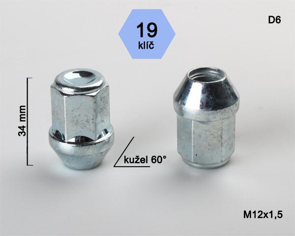 Kolová matice M12x1,5 kužel zavřená, klíč 19 (D6) výška 34mm