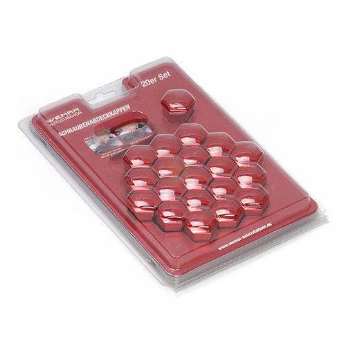 Sada krytek na kolové šrouby nebo matice, červený chrom (20ks) CK1720RCWEM velikost 17mm