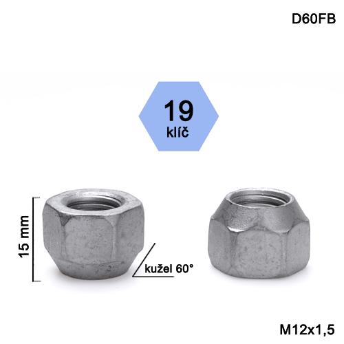 Kolová matice M12x1,5 kužel otevřená, klíč 19 (D60FB) výška 15mm