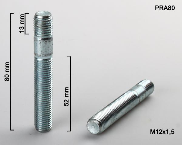Kolový svorník M12x1,5x52/13 oboustranný závit (PRA80) celková délka 80mm