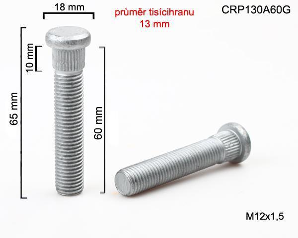 Kolový svorník M12x1,5x60 tisícihran průměr 13mm (CRP130A60G) celková délka 65mm