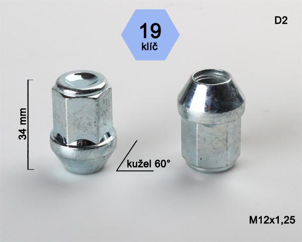 Kolová matice M12x1,25 kužel zavřená, klíč 19 (D2) výška 34mm