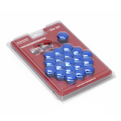 Sada krytek na kolové šrouby nebo matice, modrý chrom (20ks) CK1720BCWEM) velikost 17mm