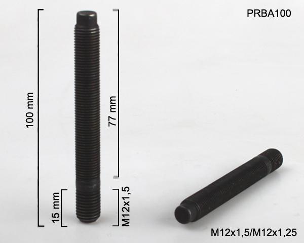 Kolový svorník M12x1,5x15/M12x1,25x77 oboustranný závit (PRBA100) černý, celk. délka 100mm
