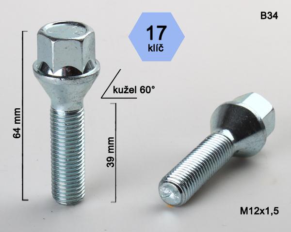Kolový šroub M12x1,5x39 kužel, klíč 17 (C17A39/B34) výška 64mm