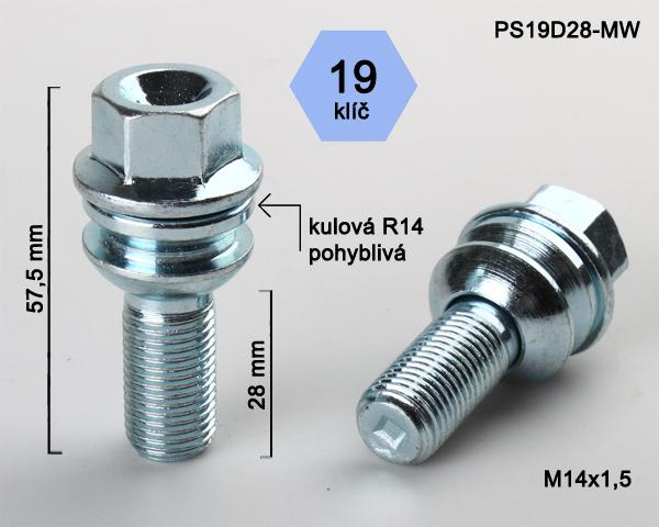 Kolový šroub M14x1,5x28 kulová R14 pohyblivá, klíč 19 (PS19D28R14-MW) výška 57,5mm