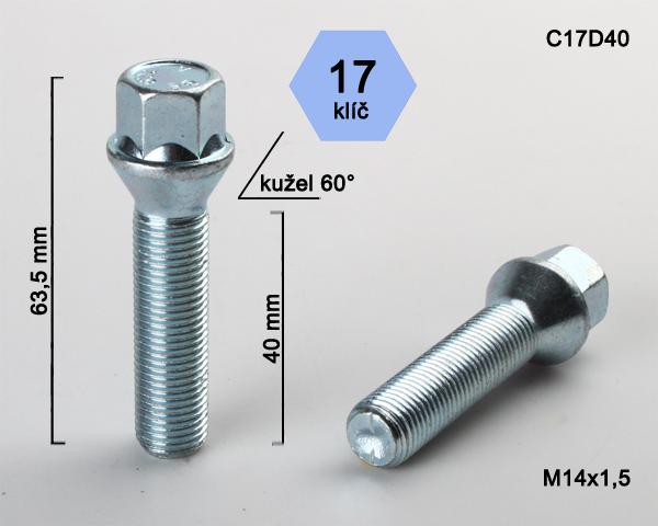 Kolový šroub M14x1,5x40 kužel, klíč 17 (C17D40) výška 63,5mm