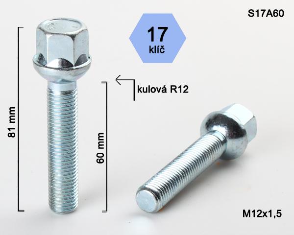 Kolový šroub M12x1,5x60 kulová R12, klíč 17 (S17A60R12) výška 81mm
