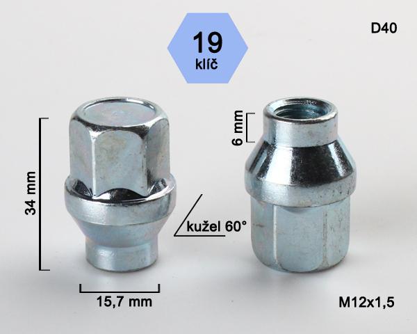 Kolová matice M12x1,5 kužel s krčkem 15,7 zavřená, klíč 19 (D40) výška 34mm, délka krčku 6