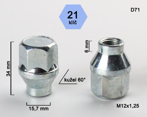 Kolová matice M12x1,25 kužel s krčkem 15,7 zavřená, klíč 21 (D71) výška 34, délka krčku 6